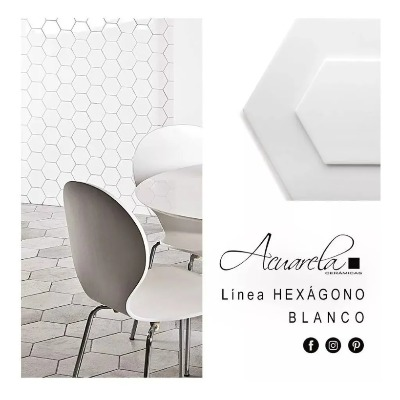 Acuarela Hexagono Blanco Mate 20x23